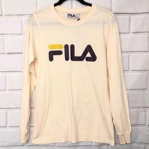 Fila Cream Logo Long Sleeve T Shirt Size Small New